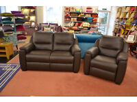 Superb Luxury Italian Leather Sofas - Handmade in Italy 2 Seater Settee and Armchair in Dark Brown