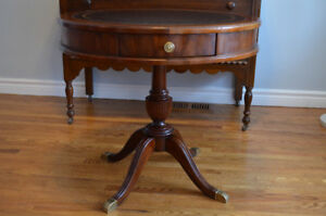 Gorgeous Solid Wood and Leather Inlay Round Table