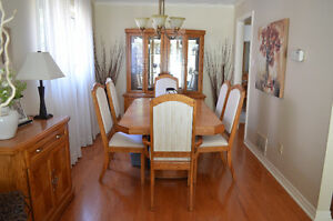 Solid Oak Dining Room Set with Matching Hutch and Sideboard.
