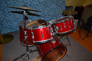 Vintage 70's 5-Piece Permier Drums in Red Sparkle