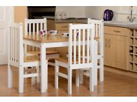 New & Boxed Solid wood & white small dining table & four chairs Only £159 View in store today
