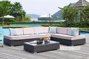 ifurniture Warehouse Sale- VALENCIA Patio Sectional Sofa with Coffee Table* Aluminum frame