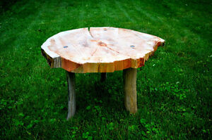 Rustic live edge pine coffee table