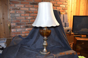 Vintage, Amber & Brass Table Lamp