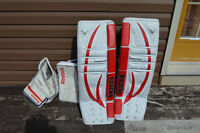 Goalie pads, blocker and trapper