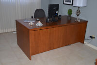 Executive Desk (Oak Color) with Black High Back Chair
