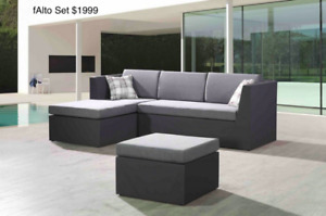 Outdoor Aluminum Sling Mesh Sectional Sofa Sets