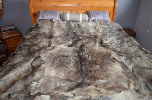Genuine Arctic timber wolf blanket.