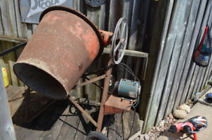 Old Portable electric steel cement mixer; new belt. Working $150