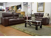Brand New Two Piece Suite 2 & 3 Seater Set Chestnut Brown Italian made Leather sofas RRP £3838 it