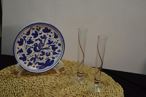 Italy Blue Bird Plate and Flask Vases