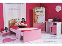 Childrens Bed And Bedroom Furniture Set | New Pink Bear Single Kids Bed, Wardrobe, Bedside And Desk