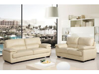 Set of 2 matching Chelsea Cream Leather Sofas in great condition