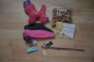 Dog, cat and ferret treats, toys, coats, toys, and other items