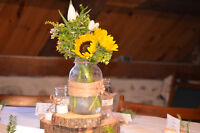 Mariage - Centre table rustique - pot masson