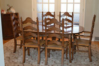 Hardwood Dining Room Table and Chairs for sale