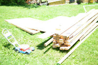 """30 2""""x4"""" x8ft , other building material and some plywood"""