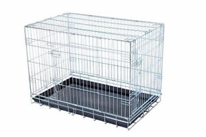 Small Silver Dog Crate - 2 door access