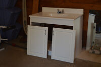 White Bathroom Vanity with mirror and light