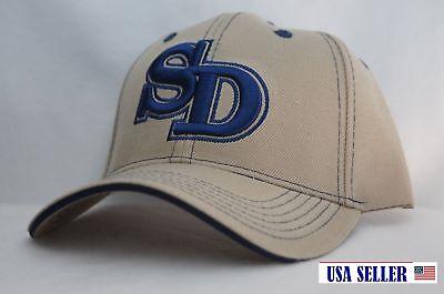 NWT SAN DIEGO BOLD INITIAL'S CONTRAST COLOR BASEBALL CAP KHAKI / BLUE