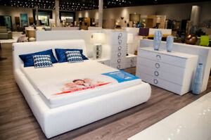 """ROKSANA"" BEDROOM SET  GLOSSY WHITE – QUEEN BED– MADE IN EUROPE"
