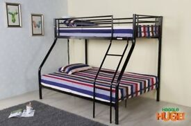 Same Day Delivery - 45% Off - Brand New Trio Metal Bunk Bed Frame & Mattress Optional - wood ladder