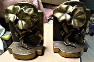 BOOKENDS - A Vintage Set of Heavy Brass Book-Ends .