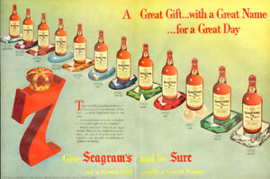 Large (20 by 13 ¾ ) 1955 two-page color ad for Seagram's 7