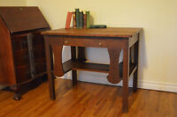 Antique Solid Oak Library Desk-Lovely Solid Piece