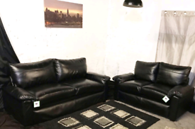 !; New Ex display black real leather 3+2 seater sofas