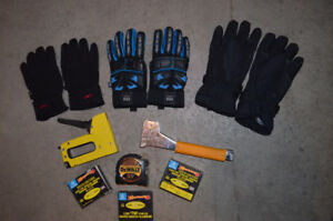 staplers, tape measure and work gloves