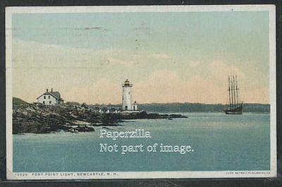 Nh Newcastle Phostint 1923 Fort Point Light House   Sailing Ship Detroit 13029
