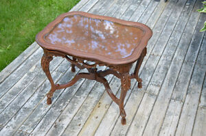 Carved Wood Coffee Table with Removable Serving Tray