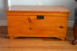Solid pine trunk with handles on the sides