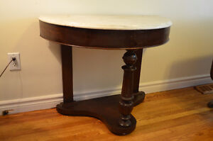 1/2 Moon Hall Table w Marble Top