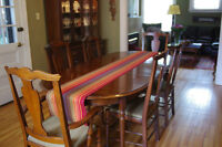 Roxton Dark maple Dining Set Table, Chairs and Buffet+6 Chairs