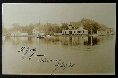1919 Rppc Postcard Waterfront Scene Sands Point New York Sail Boat  6644E