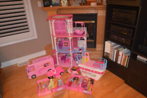 Barbie House, Boat, Camper, Car and Dolls