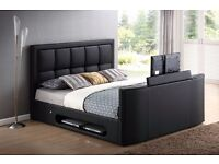 *SALE*CASINO DOUBLE TV LEATHER BED FRAME £299 *HOLDS UP TO A 32 INCH TV - SAME DAY DELIVERY