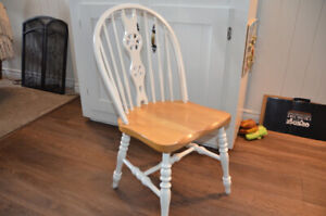 White wooden dining room chairs, set of 4