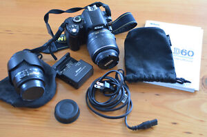 Nikon D60 DSLR Camera with Lenses and Bag