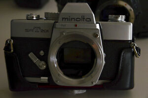 vintage cameras ...minolta konica bodies and one 200mm and films
