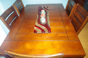 """Dinning Set(table L.64""""+24""""ext, W.42"""" and 6 chairs)solid wood"""