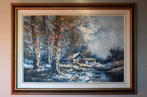 Chalet in Autumn by Striccoli (Large Oil on Canvas)