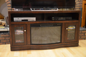 Solid TV table  with electric fireplace