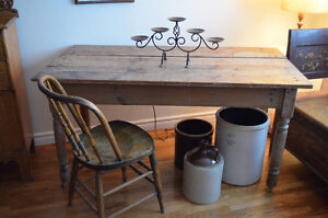 Rustic Antique Barn Wood Harvest Table-Gorgeous!