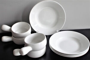 White French Onion Soup Bowls and Pasta Plates