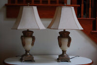 2 = Gold & Cream Accent Table Lamps
