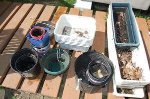 Various Pots and Planters and Leftover Perlite and Vermiculite