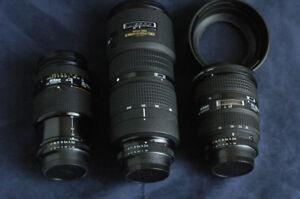 Nikon 20-35mm, 35-70mm et 80-200mm